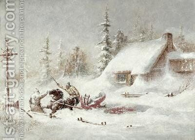 The Blizzard by Cornelius Krieghoff - Reproduction Oil Painting