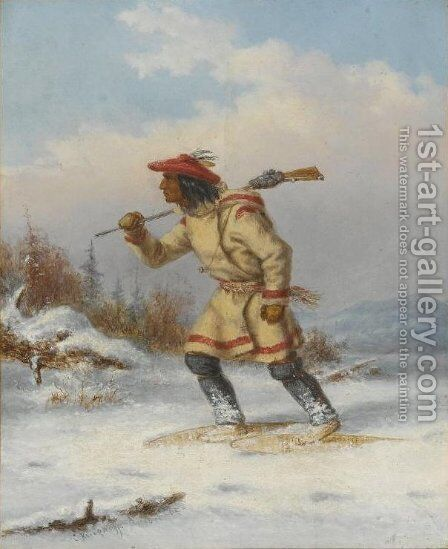 Following the Moose by Cornelius Krieghoff - Reproduction Oil Painting