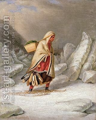 An Indian Woman Wearing Snowshoes by Cornelius Krieghoff - Reproduction Oil Painting