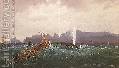 A Whaling Scene by Cornelius Krieghoff - Reproduction Oil Painting