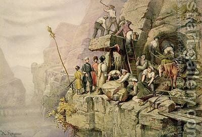 A Stone Quarry by (after) Kretzschmer, H. - Reproduction Oil Painting