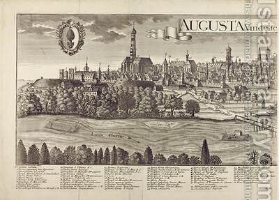 Panoramic view of Augsburg 2 by Johann Thomas Kraus - Reproduction Oil Painting