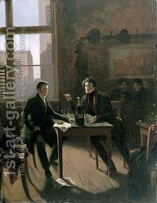 Ernest Theodor Wilhelm Hoffmann 1776-1822 and Ludwig Devrient 1784-1832 at Lutter and Wegner Berlin by Hermann Kramer - Reproduction Oil Painting