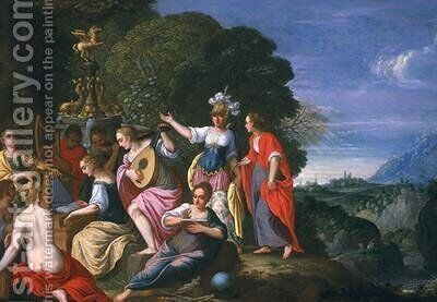 Athene and the Nine Muses at the Wells of Hipokrene by Johann Konig - Reproduction Oil Painting