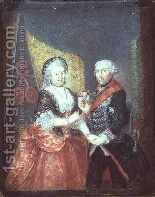 King Frederick II and his wife Elizabeth Christine by Anton Friedrich Konig - Reproduction Oil Painting