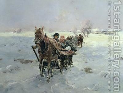 Sleighs in a Winter Landscape by Janina Konarsky - Reproduction Oil Painting