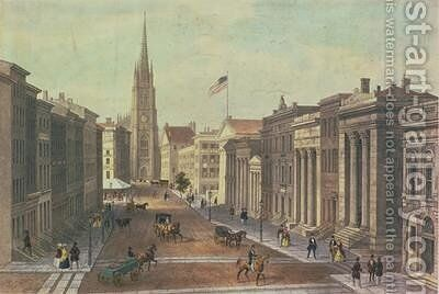 Wall Street New York by (after) Kollner, Augustus - Reproduction Oil Painting