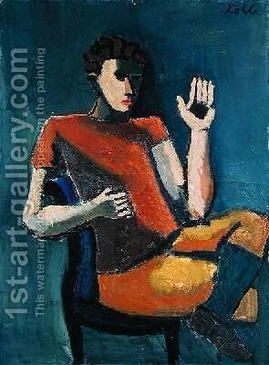 Seated Man with a Raised Hand 2 by Helmut von Hugel Kolle - Reproduction Oil Painting