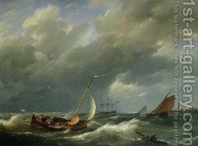 Shipping off a Dutch port by Hermanus Koekkoek - Reproduction Oil Painting