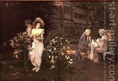Teatime romance by Hermann Koch - Reproduction Oil Painting