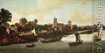 Chiswick from the River by Jacob Knyff - Reproduction Oil Painting