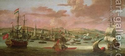 Dutch men o war and Turkish Galleys off Constantinople by Jacob Knyff - Reproduction Oil Painting