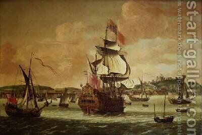 Charles II on board a two decker man o war off Dover by Jacob Knyff - Reproduction Oil Painting