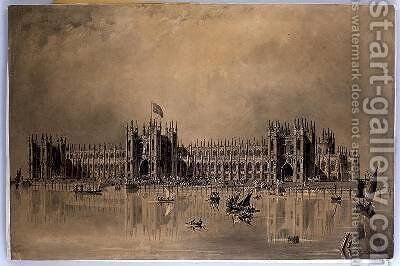 Perspective drawing of the artists proposed new Houses of Parliament by James Thomas Knowles - Reproduction Oil Painting