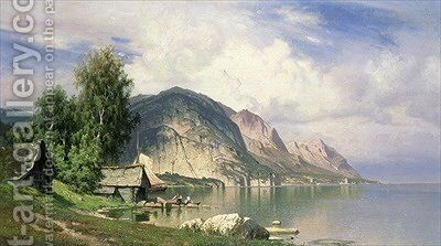 Norwegian Fjord by Hugo Knorr - Reproduction Oil Painting