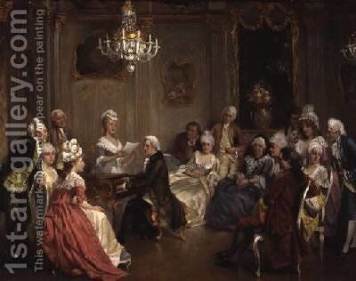 A Musical Recital by August Knoop - Reproduction Oil Painting