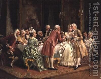 The Engagement by August Knoop - Reproduction Oil Painting