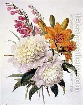 Sprays of Gladioli Peonies and Lilium Bulbiferum by Henriette Gertruide Knip - Reproduction Oil Painting
