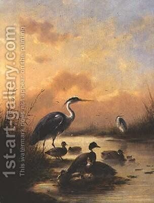 A family of Mallard and two Herons by Augustus Knip - Reproduction Oil Painting