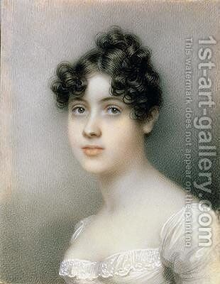 Portrait Miniature of Girl in a White Dress by (attr. to) Knight, Mary Ann - Reproduction Oil Painting