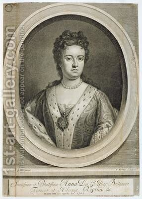Queen Anne 1665-1714 by (after) Kneller, Sir Godfrey - Reproduction Oil Painting