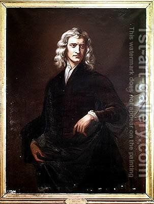 Sir Isaac Newton 1642-1723 by (after) Kneller, Sir Godfrey - Reproduction Oil Painting