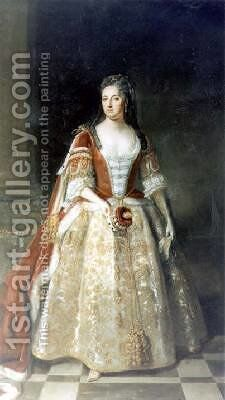 Portrait of Angelina Magdalena 1666-1736 by (after) Kneller, Sir Godfrey - Reproduction Oil Painting