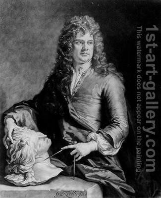 Grinling Gibbons 1648-1721 by (after) Kneller, Sir Godfrey - Reproduction Oil Painting