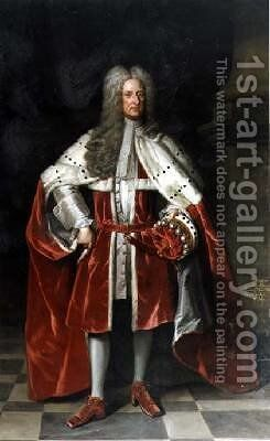 Portrait of Henry 1st Viscount St John 1652-1742 in his coronation robes by (after) Kneller, Sir Godfrey - Reproduction Oil Painting