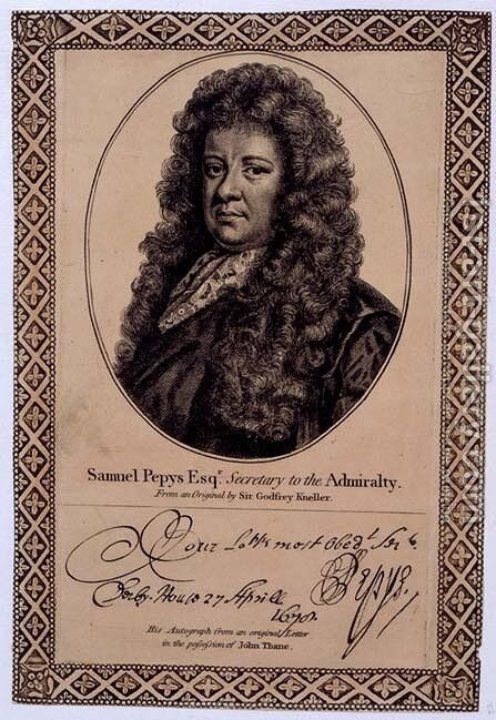 Samuel Pepys 1633-1703 2 by (after) Kneller, Sir Godfrey - Reproduction Oil Painting
