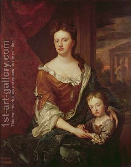 Queen Anne and William Duke of Gloucester by (after) Kneller, Sir Godfrey - Reproduction Oil Painting