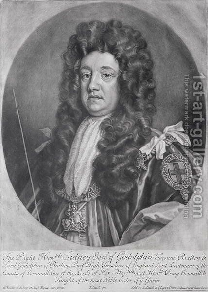Portrait of Sidney Godolphin 1645-1712 1st Earl of Godolphin by (after) Kneller, Sir Godfrey - Reproduction Oil Painting