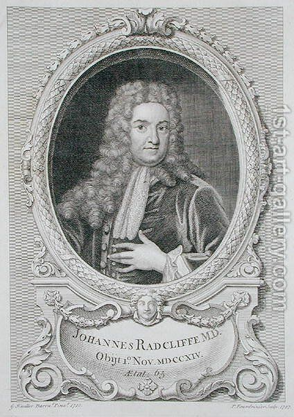 Portrait of John Radcliffe 1650-1714 by (after) Kneller, Sir Godfrey - Reproduction Oil Painting