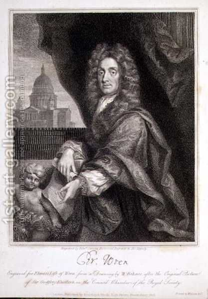 Portrait of Christopher Wren by (after) Kneller, Sir Godfrey - Reproduction Oil Painting