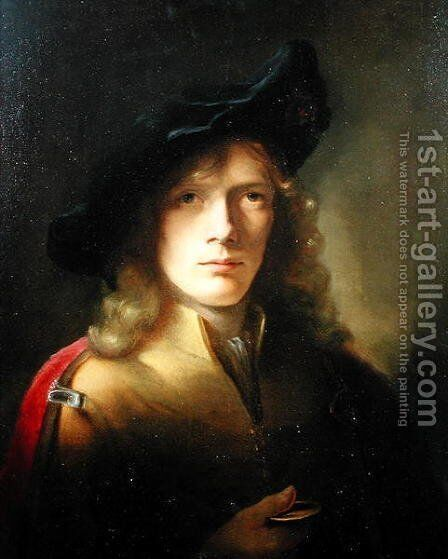 Portrait of a young Man holding a Medal by Sir Godfrey Kneller - Reproduction Oil Painting