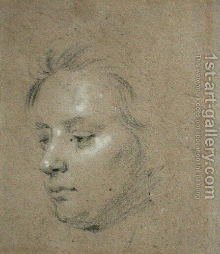 Sketch of the Head of as Young Boy by Sir Godfrey Kneller - Reproduction Oil Painting