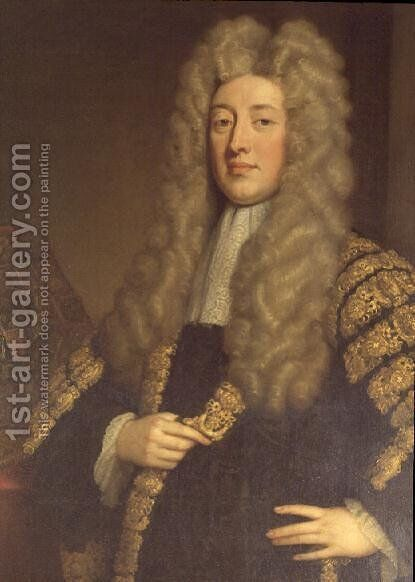 Simon 1st Lord Harcourt Chancellor to Queen Anne by Sir Godfrey Kneller - Reproduction Oil Painting