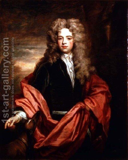 Portrait of a gentleman with a greyhound by Sir Godfrey Kneller - Reproduction Oil Painting
