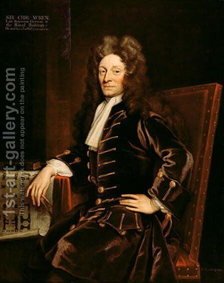 Portrait of Sir Christopher Wren 1632-1723 by Sir Godfrey Kneller - Reproduction Oil Painting