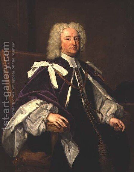 Portrait of Sir Jonathan Trelawny successively Bishop of Bristol Exeter and Winchester by Sir Godfrey Kneller - Reproduction Oil Painting