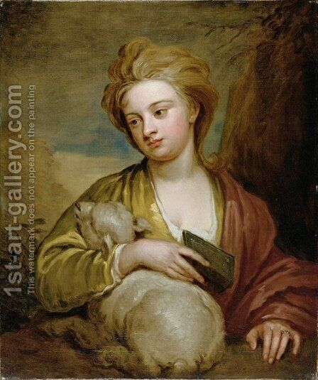 Portrait of a Woman as St Agnes traditionally identified as Catherine Voss by Sir Godfrey Kneller - Reproduction Oil Painting