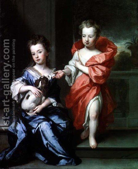 Two Children perhaps of the Howard Family by Sir Godfrey Kneller - Reproduction Oil Painting