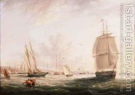 Shipping Off Tilbury Fort Gravesend by Adolphus Knell - Reproduction Oil Painting