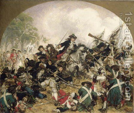 The Old Dessauer in the Battle of Turin by Hermann Joseph Wilhelm Knackfuss - Reproduction Oil Painting
