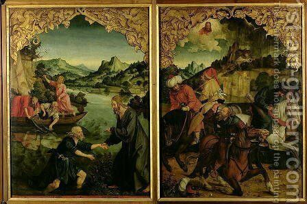Stories of SS Peter and Paul altarpiece detail showing L to R Vocation of St Peter Conversion of St Paul by Hans von Klumbach - Reproduction Oil Painting