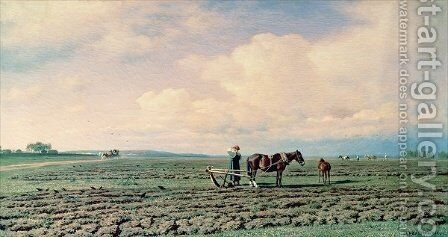 In the Field by Mikhail Konstantinovich Klodt - Reproduction Oil Painting