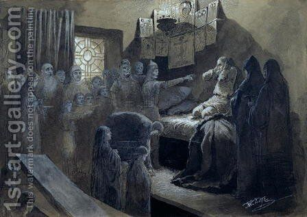 Ivan IV 1530-84 the Terrible Visited by the Ghosts of Those He Murdered by Baron Mikhail Petrovich Klodt von Jurgensburg - Reproduction Oil Painting