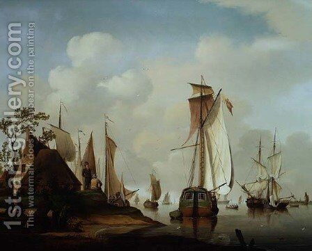 Yachts and other Boats at Anchor in an Estuary by David Kleyne - Reproduction Oil Painting