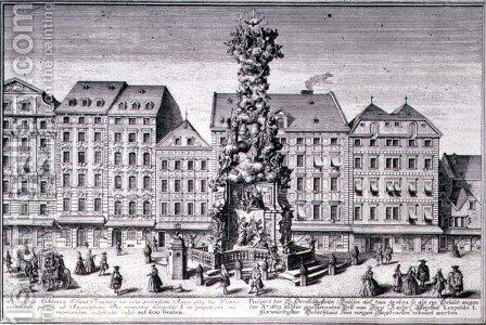 View of the Pestsaule the Plague Column commissioned by Emperor Leopold I to commemorate Viennas deliverance from the plague of 1679 devised by the Jesuits and executed by Matthias Rauchmiller Lodovico Burnacini and Johann Bernhard Fisher von Erlach by (after) Kleiner, Salomon - Reproduction Oil Painting