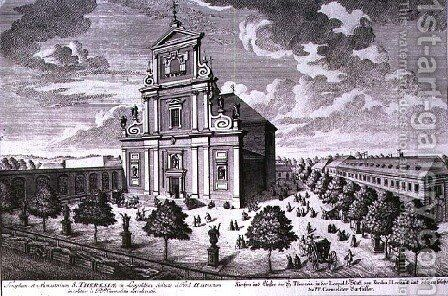 View of the church and monastery of St Theresa Vienna by (after) Kleiner, Salomon - Reproduction Oil Painting